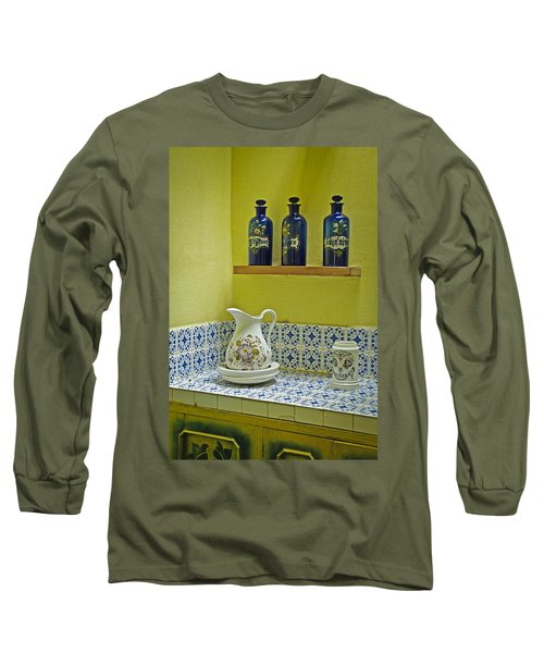 Vintage Bathroom Long Sleeve T-Shirt by Lana Enderle