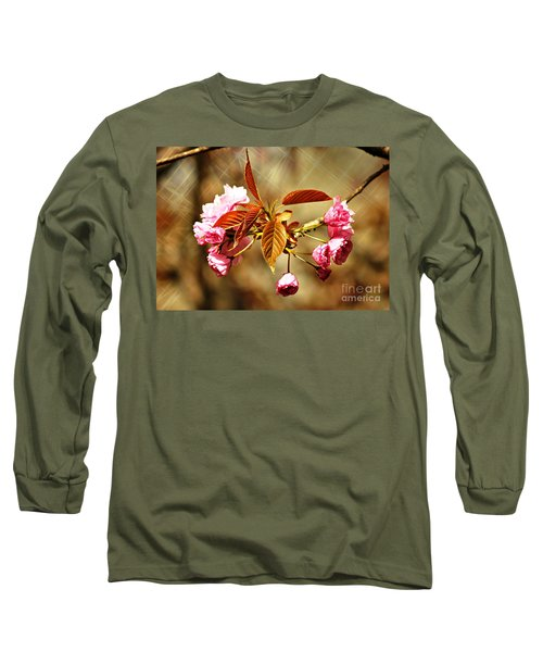 Long Sleeve T-Shirt featuring the photograph Vintage Cherry Blossoms by Judy Palkimas