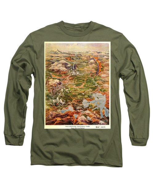 Vintage Map Of Yellowstone National Park Long Sleeve T-Shirt