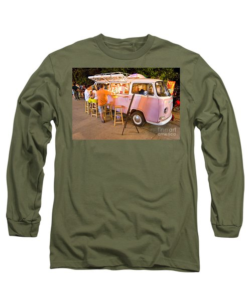 Vintage Pink Volkswagen Bus Long Sleeve T-Shirt by Luciano Mortula