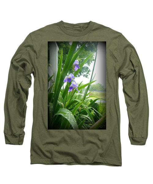 Long Sleeve T-Shirt featuring the photograph Iris With Dew by Laurie Perry