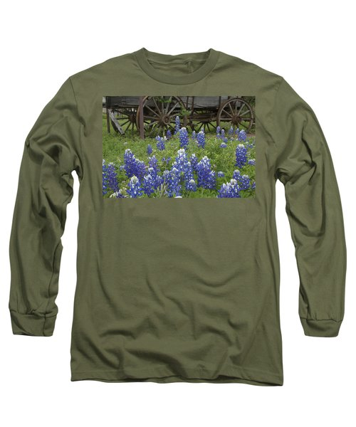 Wagon With Bluebonnets Long Sleeve T-Shirt by Susan Rovira