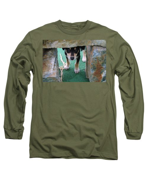 Wannabe Sled Dog In The Yukon Long Sleeve T-Shirt by Richard Rosenshein