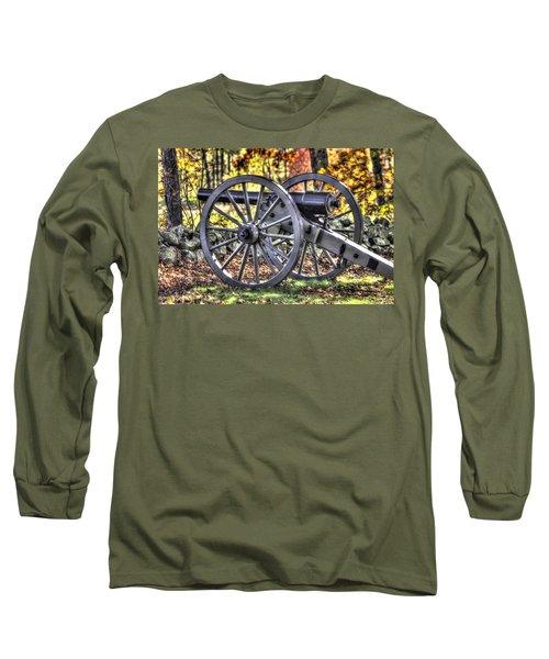 Long Sleeve T-Shirt featuring the photograph War Thunder - The Albemarle Va Artillery Wyatt's Battery-b2 West Confederate Ave Gettysburg by Michael Mazaika