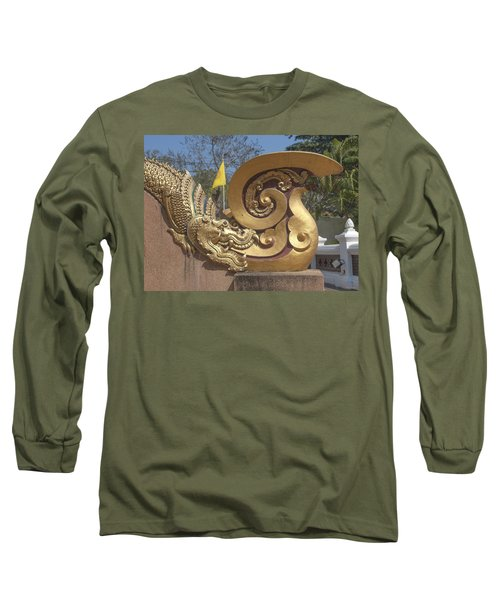Wat Chedi Liem Phra Ubosot Makara And Stylized Naga Dthcm0838 Long Sleeve T-Shirt