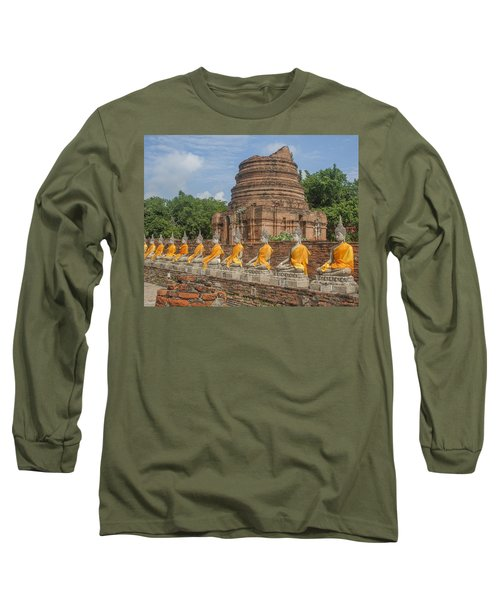 Wat Phra Chao Phya-thai Buddha Images And Ruined Chedi Dtha005 Long Sleeve T-Shirt