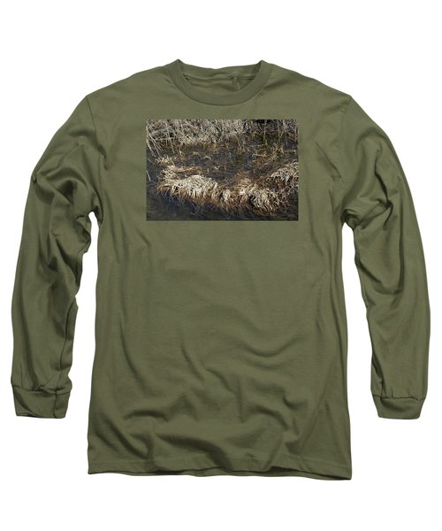 Long Sleeve T-Shirt featuring the photograph Dried Grass In The Water by Teo SITCHET-KANDA