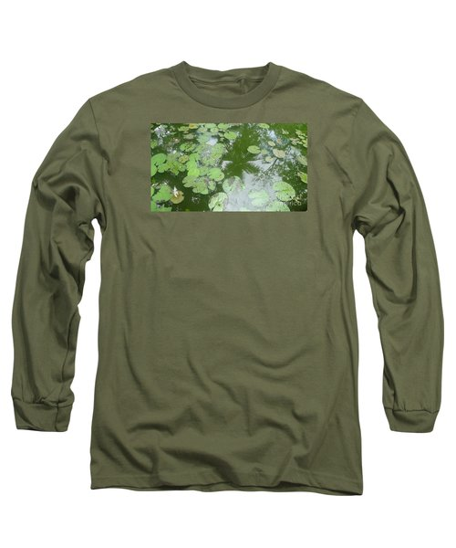 Long Sleeve T-Shirt featuring the photograph Water Lily Leaves And Palm Trees by Nora Boghossian