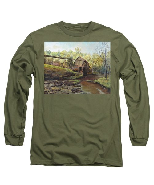 Watermill At Daybreak  Long Sleeve T-Shirt by Mary Ellen Anderson