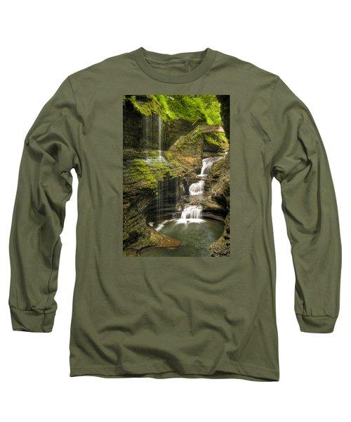 Watkins Glen Falls Long Sleeve T-Shirt by Anthony Sacco
