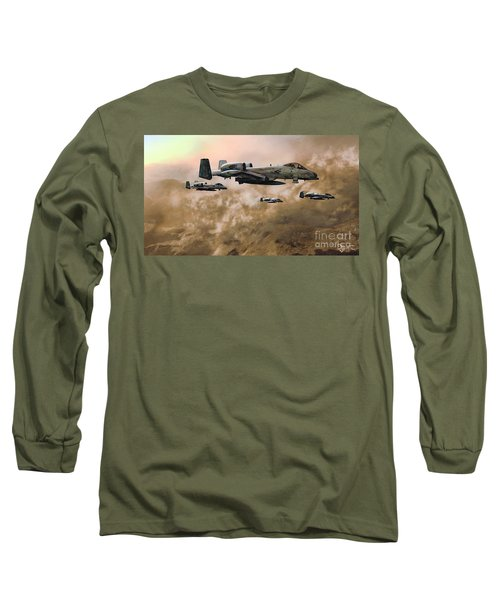 Long Sleeve T-Shirt featuring the painting Waypoint Alpha - Outline by Dave Luebbert
