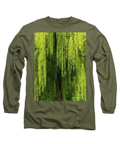 Weeping Willow Tree Enchantment  Long Sleeve T-Shirt by Carol F Austin