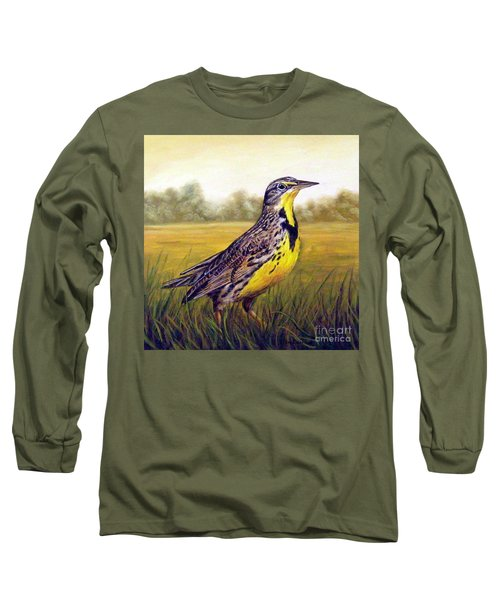 Western Meadowlark Afternoon Long Sleeve T-Shirt by Tom Chapman