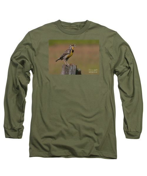 Western Meadowlark.. Long Sleeve T-Shirt by Nina Stavlund