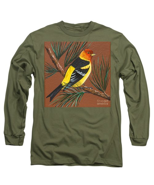 Long Sleeve T-Shirt featuring the painting Western Tanager by Jennifer Lake