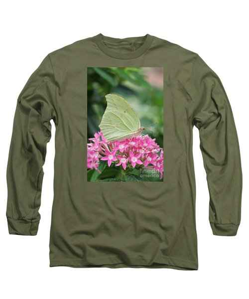 Long Sleeve T-Shirt featuring the photograph White Angled Sulphur by Judy Whitton