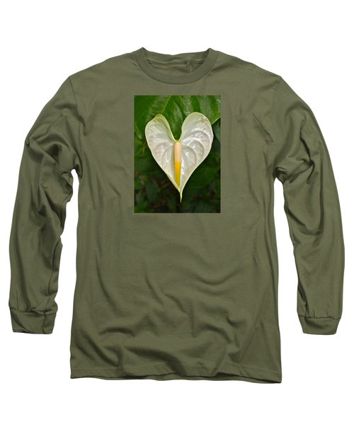 White Anthurium Heart Long Sleeve T-Shirt by Venetia Featherstone-Witty