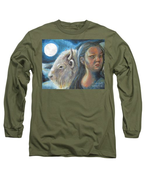White Buffalo Portrait Long Sleeve T-Shirt by Samantha Geernaert