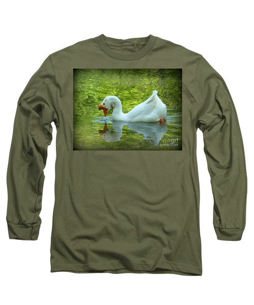 White Chinese Goose Curtsy  Long Sleeve T-Shirt