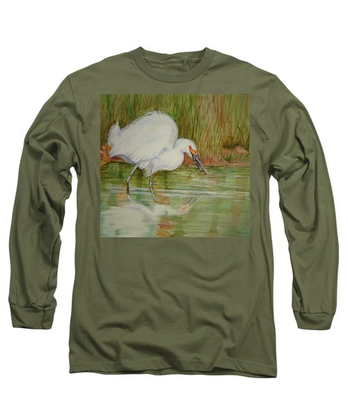 White Egret Wading  Long Sleeve T-Shirt