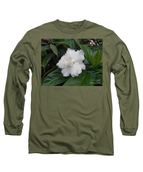 Long Sleeve T-Shirt featuring the photograph White Flower by Sergey Lukashin