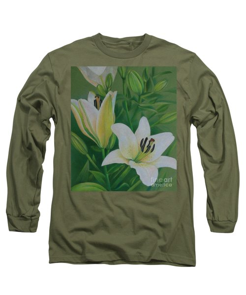 White Lily Long Sleeve T-Shirt by Pamela Clements