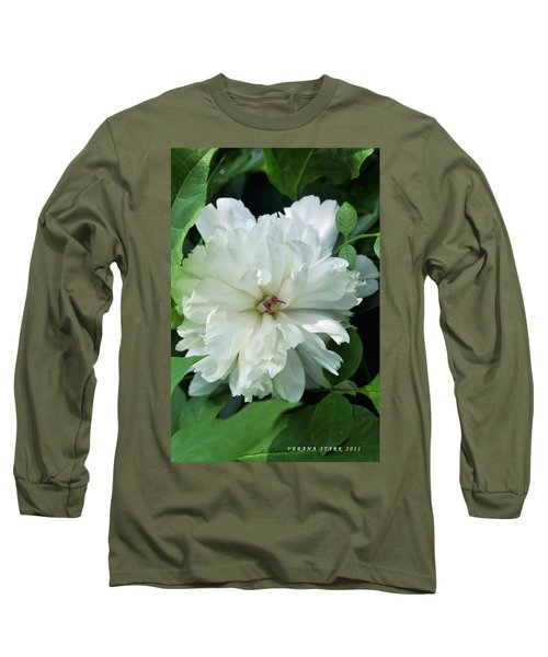 Long Sleeve T-Shirt featuring the photograph White Peonese by Verana Stark
