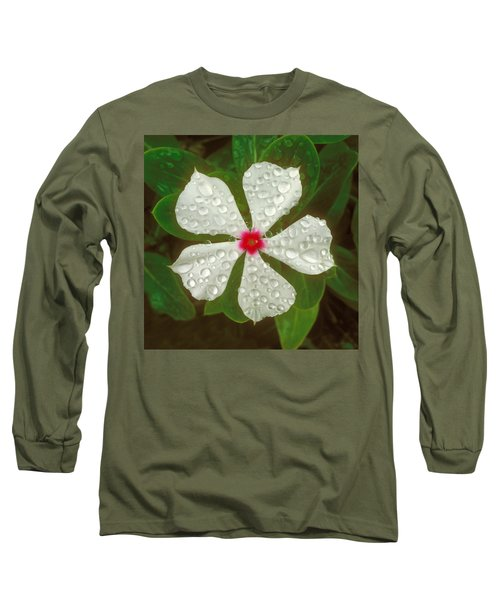 Long Sleeve T-Shirt featuring the photograph White Periwinkle by Mark Greenberg