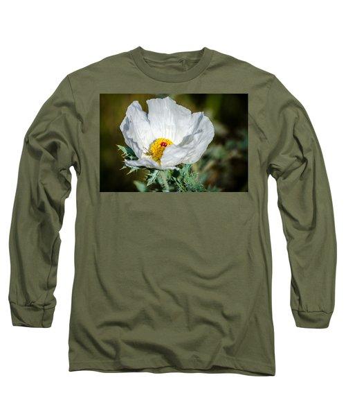 White Prickly Poppy Wildflower Long Sleeve T-Shirt by Debra Martz