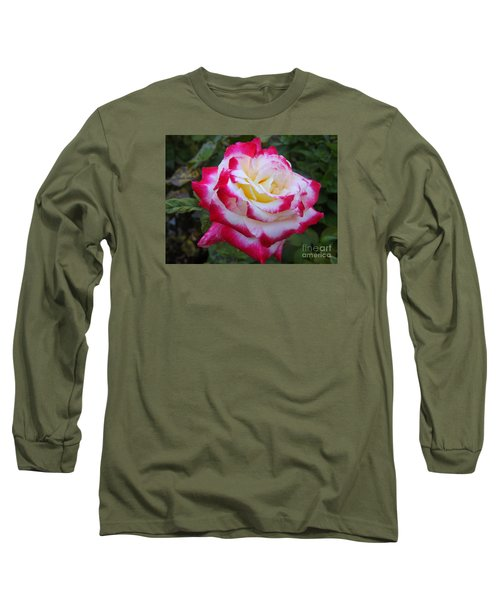 White Rose With Pink Texture Hybrid Long Sleeve T-Shirt