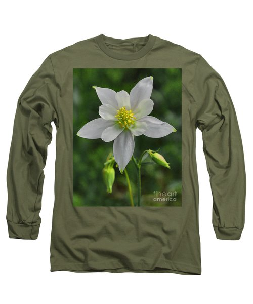 Long Sleeve T-Shirt featuring the digital art White Star Flower by Mae Wertz