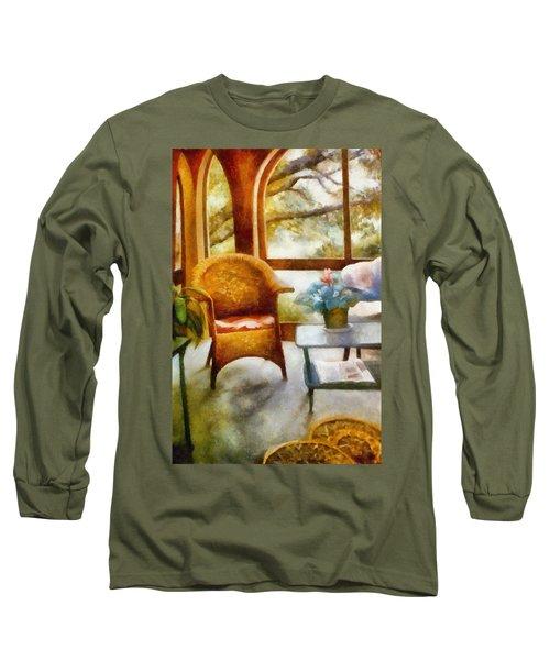 Wicker Chair And Cyclamen Long Sleeve T-Shirt