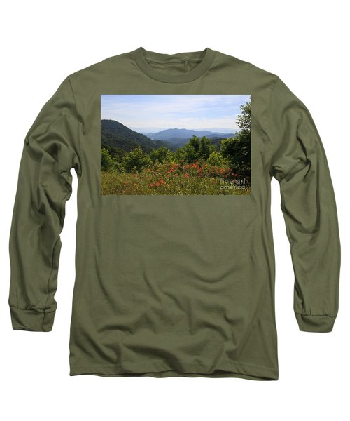 Wild Lilies With A Mountain View Long Sleeve T-Shirt