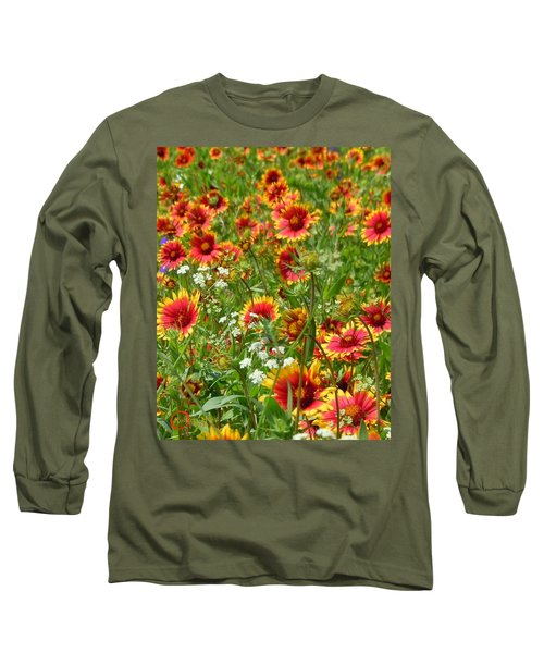 Long Sleeve T-Shirt featuring the photograph Wild Red Daisies #2 by Robert ONeil