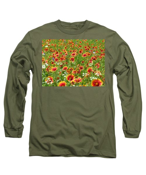 Long Sleeve T-Shirt featuring the photograph Wild Red Daisies #3 by Robert ONeil