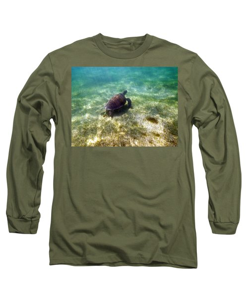 Long Sleeve T-Shirt featuring the photograph Wild Sea Turtle Underwater by Eti Reid