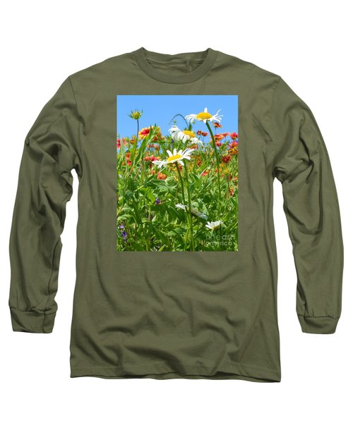 Long Sleeve T-Shirt featuring the photograph Wild White Daisies #2 by Robert ONeil