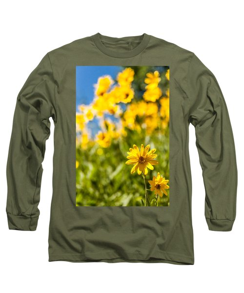Wildflowers Standing Out Abstract Long Sleeve T-Shirt by Chad Dutson