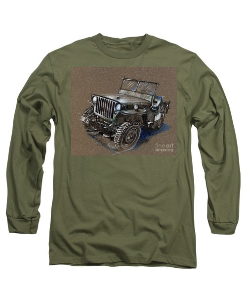 Willys Car Drawing Long Sleeve T-Shirt