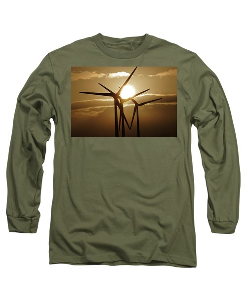 Wind Turbines Silhouette Against A Sunset Long Sleeve T-Shirt