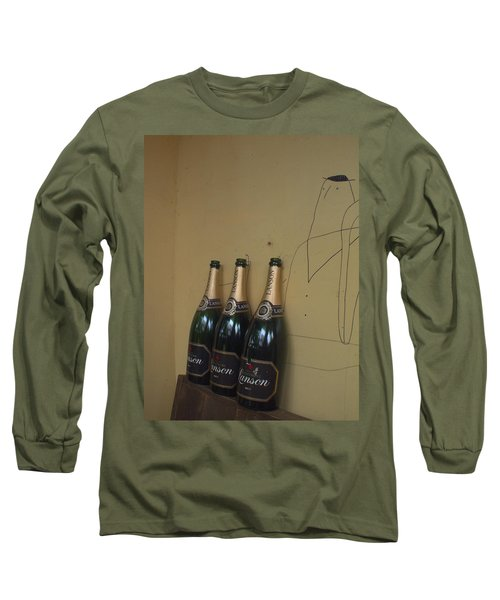 Wine And A Man Long Sleeve T-Shirt by Rachel Mirror