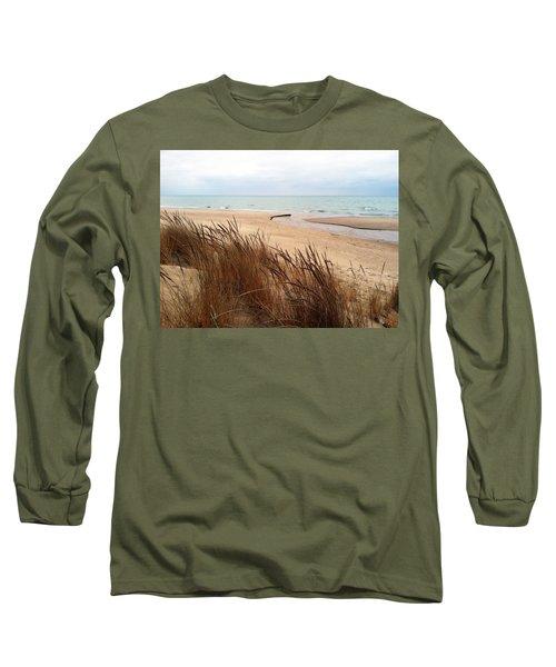 Winter Beach At Pier Cove Long Sleeve T-Shirt