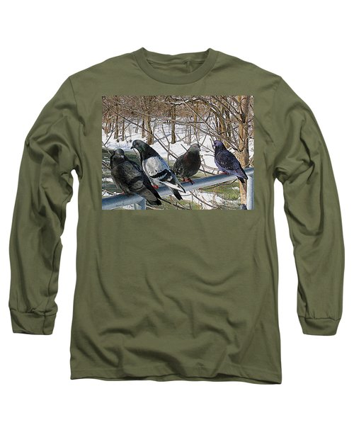 Winter Pigeon Party Long Sleeve T-Shirt by Nina Silver
