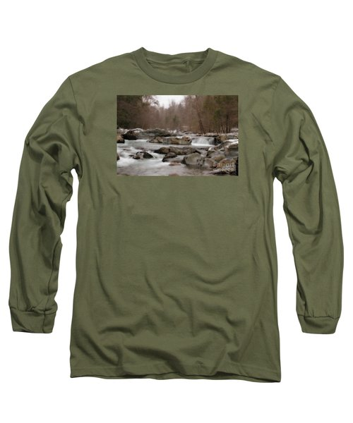 Long Sleeve T-Shirt featuring the photograph Winter Stream by Geraldine DeBoer