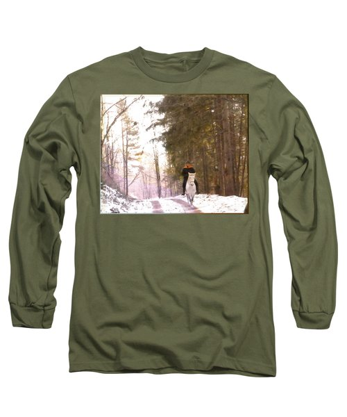 Wintertime Moment-the Chemistry Between Horse And Rider Long Sleeve T-Shirt
