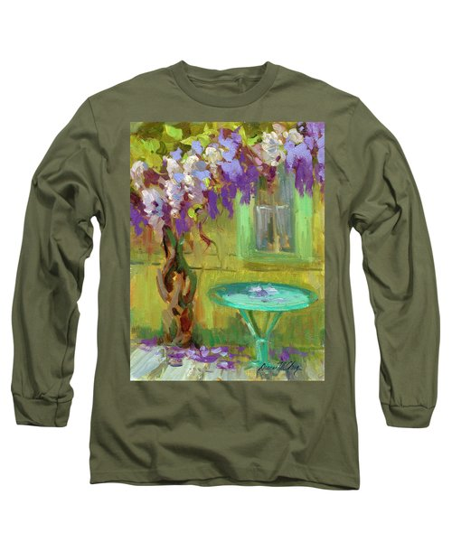 Wisteria At Hotel Baudy Long Sleeve T-Shirt by Diane McClary