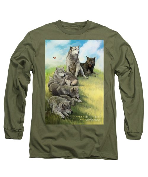 Long Sleeve T-Shirt featuring the painting Wolf Gathering Lazy by Rob Corsetti