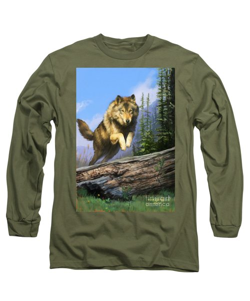 Long Sleeve T-Shirt featuring the painting Wolf Run by Rob Corsetti