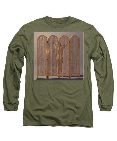 Long Sleeve T-Shirt featuring the digital art Woman Behind Screen... by Tim Fillingim