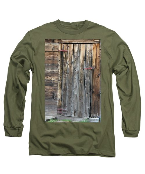 Long Sleeve T-Shirt featuring the photograph Wood Shed Door by Ann E Robson
